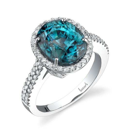 18Kt White Gold Halo Style Oval Blue Zircon and Diamond Ring