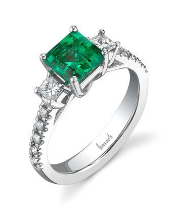 14Kt White Gold Three Stone Style Princess Cut Emerald and Diamond Classic Ring