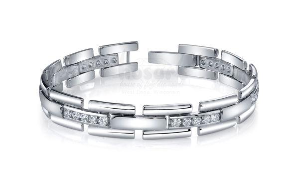 14Kt White Gold Diamond Bracelet with Links