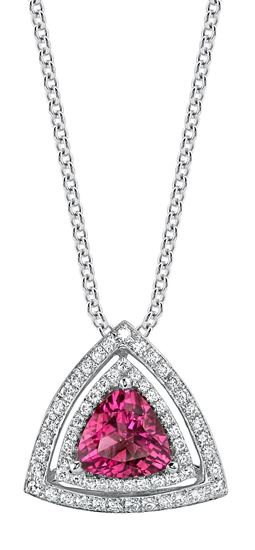18Kt. White Gold Stunning Double Halo with  Trillion Shaped Rubellite Tourmaline and Diamond Pendant