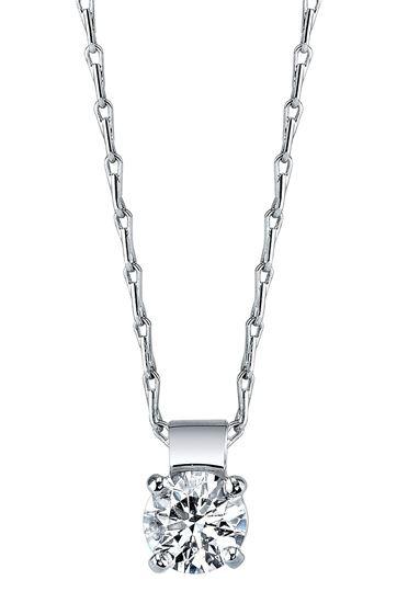 14Kt White Gold Classic Diamond Pendant
