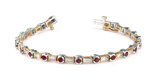 14Kt. White and Yellow Gold Bezel Set Ruby and Baguette Diamond Bracelet