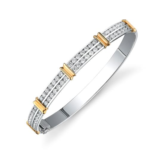 14Kt White and Yellow Gold Comtemporary Diamond Bangle Bracelet