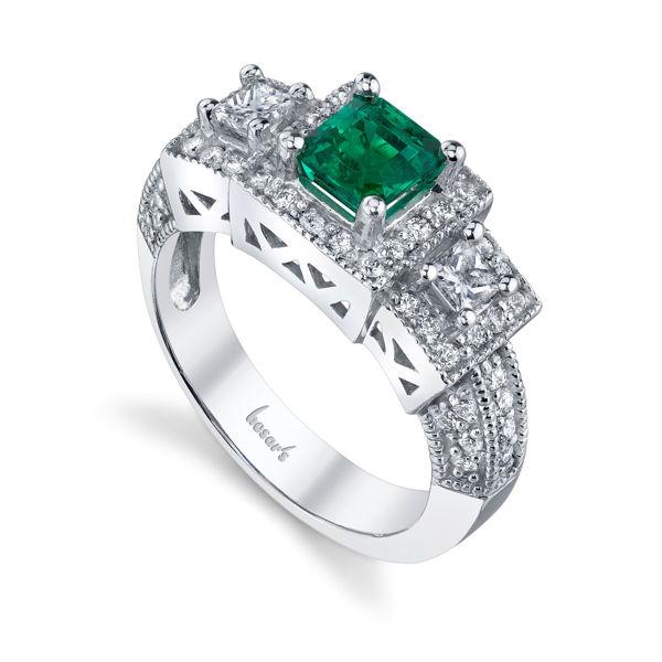 14Kt White Gold Distinctive Halo Style Princess Cut Emerald and Diamond Ring