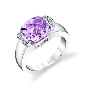 14Kt White Gold Classic Bezel Set Cushion Cut Amethyst and Diamond Ring