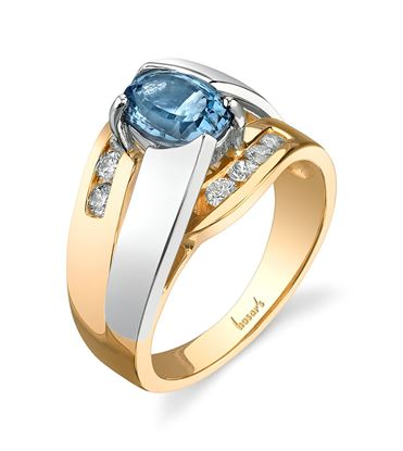 14Kt White and Yellow Gold Double Bypass Aquamarine and Diamond Ring