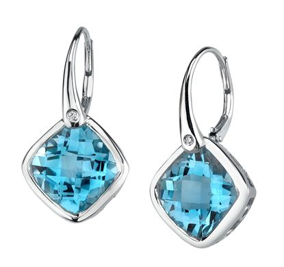 14Kt White Gold Cushion Cut Blue Topaz with Diamond Accent Drop Earrings