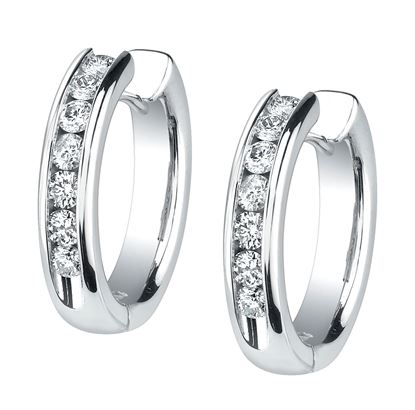 14Kt White Gold Bold Diamond Hoop Earrings
