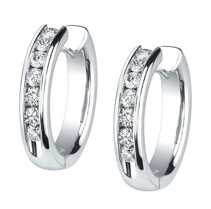 14Kt White Gold Bold Diamond Hoop Earrings