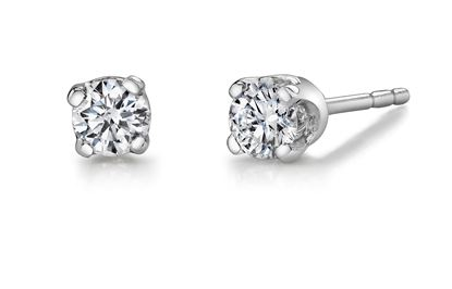 14Kt White Gold Classic Stud Diamond Earrings