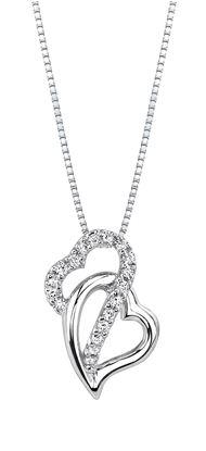 14Kt White Gold Crisscross Double Heart Diamond Pendant