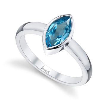 14Kt White Gold Bezel Set Marquise Shaped Blue Topaz Solitaire Ring