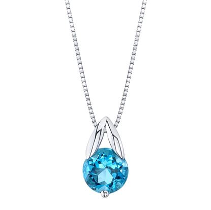 14Kt White Gold Classic Style Blue Topaz Solitaire Pendant
