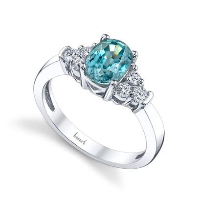 14Kt White Gold Classic Diamond Cluster and Oval Blue Zircon Ring