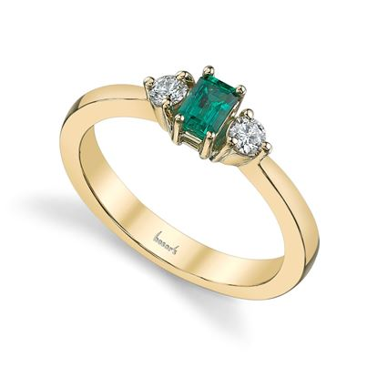 14Kt Yellow Gold Classic Three Stone Style Emerald and Diamond Ring