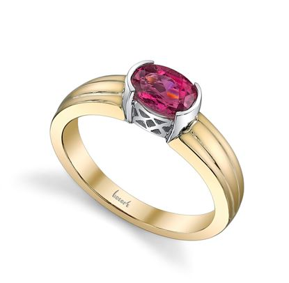 14Kt. White and Yellow Gold Semi Bezel Set Oval Pink Tourmaline Ring