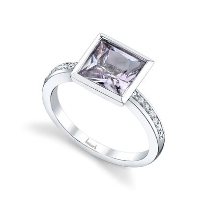 14Kt White Gold Princess Cut Pink Amethyst and Diamond Ring