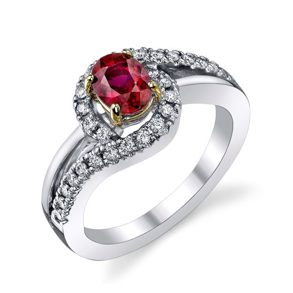 14Kt. White Gold Bypass Style with Split Shank Ruby and Diamond Ring