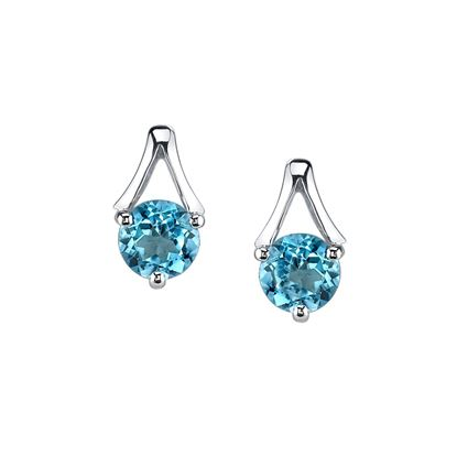 14Kt White Gold Classic Accent Blue Topaz Stud Earrings