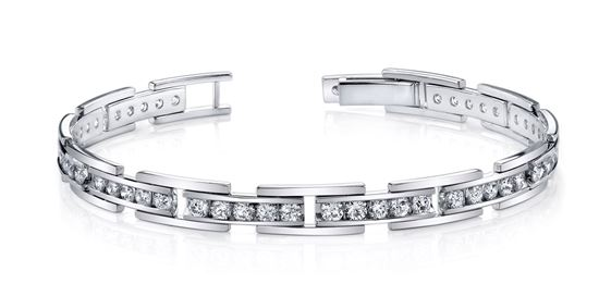14Kt White Gold Diamond Bracelet with Links
