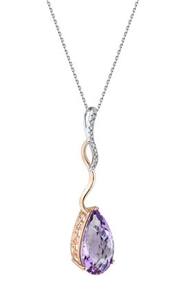 14Kt White and Rose Gold Pear Shaped Amethyst and Diamond Long Swirl Pendant