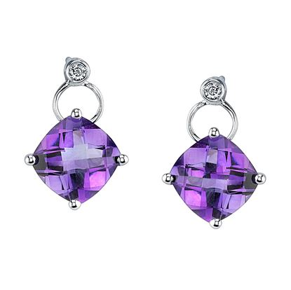 14Kt White Gold Cushion Cut Amethyst and Diamond Dangle Earrings