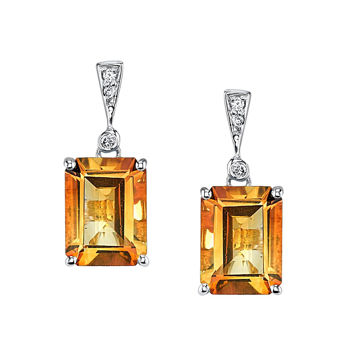 14Kt White Gold Bold Emerald Cut Citrine and Diamond Drop Earrings