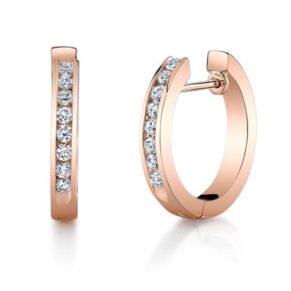 14Kt Rose Gold Hope Earrings with Channel set Diamonds
