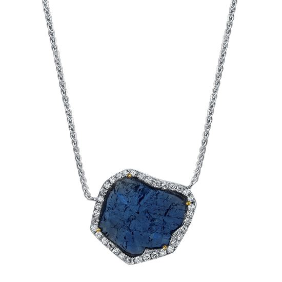 14Kt. White Gold One Of A Kind Sapphire Slab Necklace