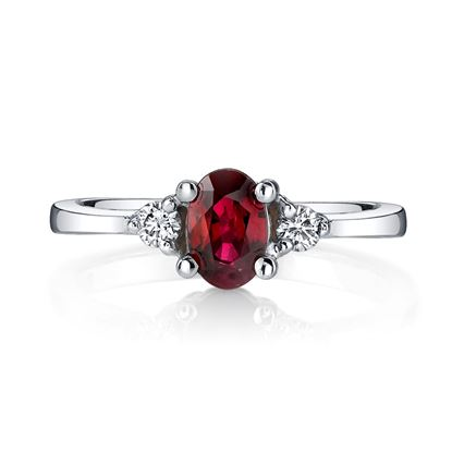 14Kt. White Gold Classic Three Stone Ruby and Diamond Ring