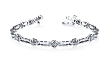 14Kt White Gold Diamond Bracelet with Polished Links