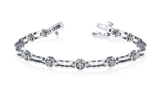 14Kt White Gold Diamond Bracelet with Polished Links