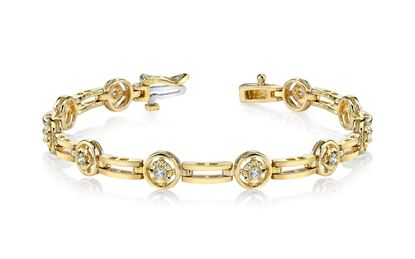 14Kt Yellow Gold Diamond Bracelet with Polished Links