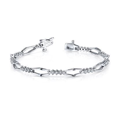 14Kt White Gold Geometric Diamond Bracelet