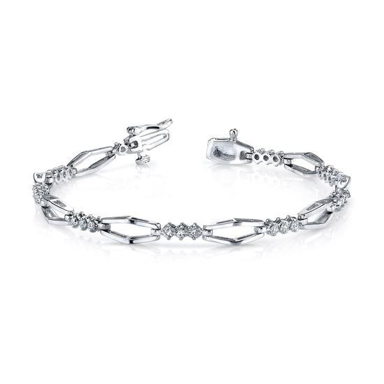 14Kt White Gold Geometric Diamond Bracelet
