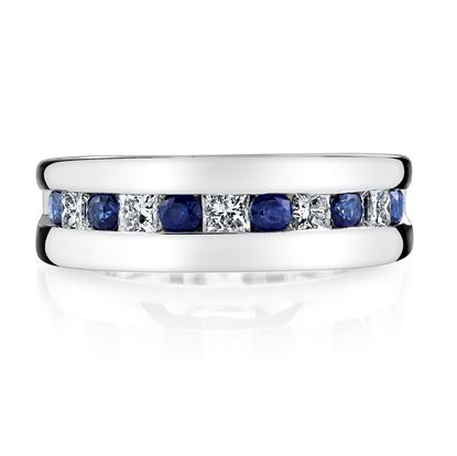 14Kt. White Gold Channel Set Princess Cut Sapphire and Diamond Ring