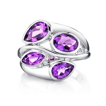 14Kt White Gold Fancy Shape Amethyst Modern Swirl Ring