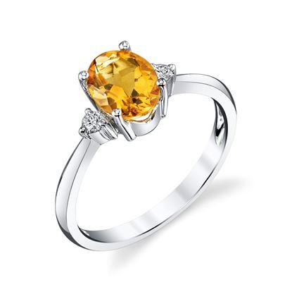 14Kt White Gold Three Stone Design Diamond and Oval Citrine Ring