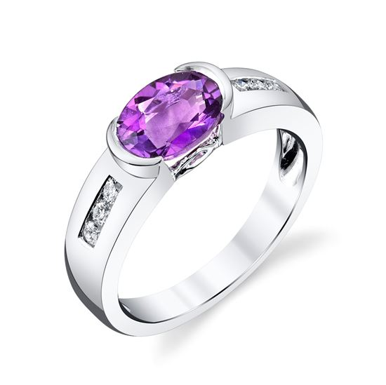 14Kt White Gold Oval Amethyst and Channel Set Diamond Contemporary Straight Ring