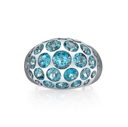 14Kt White Gold Dynamic Scattered Blue Topaz Domed Ring