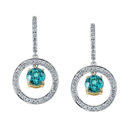 14Kt White and Yellow Gold Blue Zircon and Diamond Circle Drops from Diamond Hoop Earrings