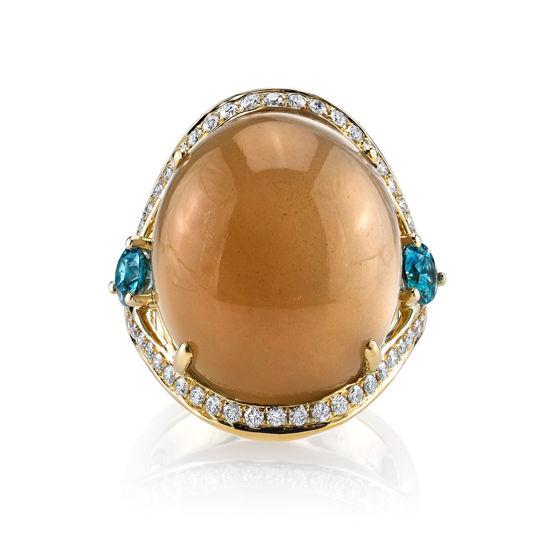 14Kt Yellow Gold Distinctive Diamond Curve around Moonstone and Blue Zircon Ring