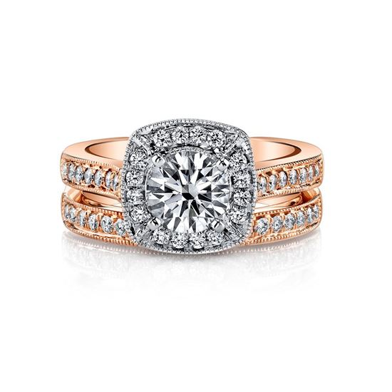 14Kt White and Rose Gold Unique Vintage Halo Diamond Engagement Ring