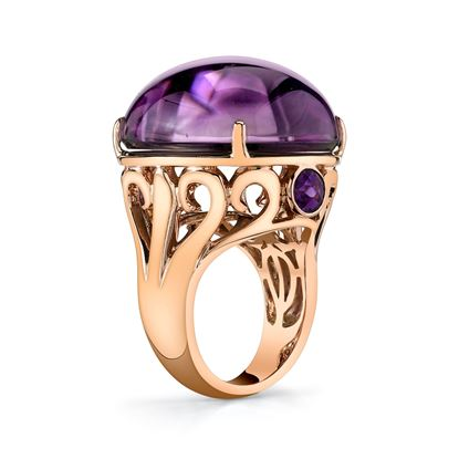 14Kt Rose Gold Bold and Dynamic Amethyst and Black Mother of Pearl Ring