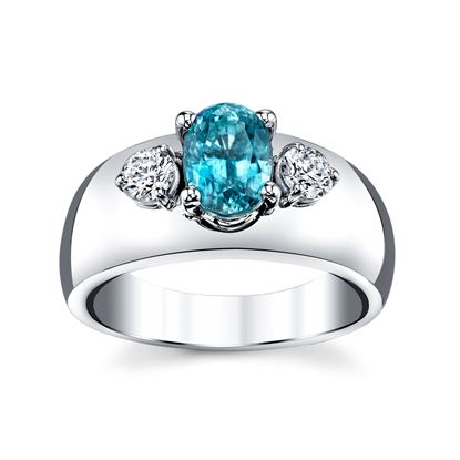 14Kt White Gold Classic Three Stone Design of Diamonds and Oval Blue Zircon Ring