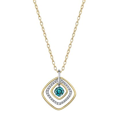 14Kt White and Yellow Gold Angled Squares and Blue Zircon and Diamond Pendant