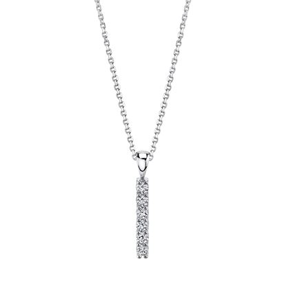 14kt White Gold Contemporary Style Diamond Bar Pendant