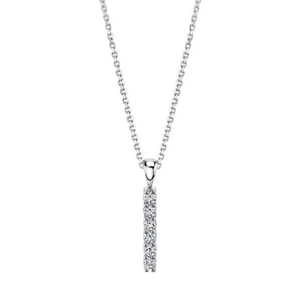 14kt White Gold Contemporary Style Diamond Bar Pendant