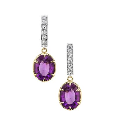14Kt White and Yellow Gold Oval Amethyst Dangle and Diamond Hoop Earrings