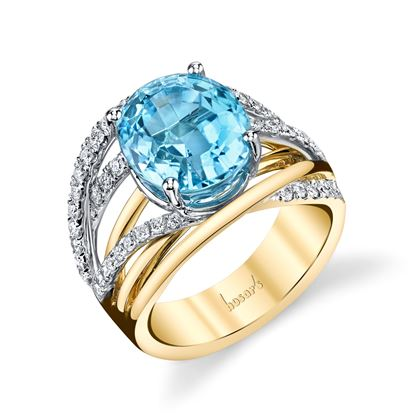 14Kt White and Yellow Gold Modern Multi-band Style Oval Blue Topaz and Diamond Ring